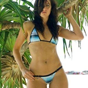 Wicked Weasel Tartan Blue Plaid Bikini Brazilian